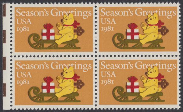 USA Michel 1514 / Scott 1940 postfrisch BLOCK RÄNDER links - Weihnachten: Teddybär auf Schlitten 0