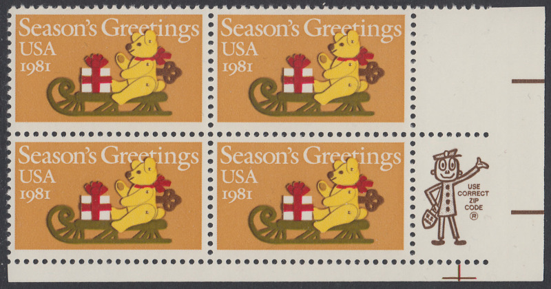 USA Michel 1514 / Scott 1940 postfrisch ZIP-BLOCK (LR) - Weihnachten: Teddybär auf Schlitten 0