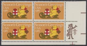 USA Michel 1514 / Scott 1940 postfrisch ZIP-BLOCK (LR) - Weihnachten: Teddybär auf Schlitten