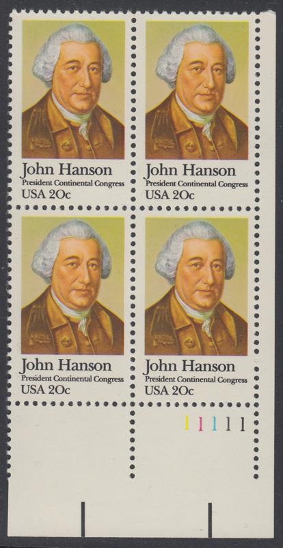 USA Michel 1515 / Scott 1941 postfrisch PLATEBLOCK ECKRAND unten rechts m/ Platten-# 11111 (b) - John Hanson (1721-1783), erster Präsident des Kontinentalkongresses 0