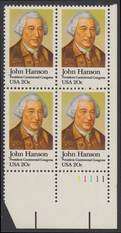 USA Michel 1515 / Scott 1941 postfrisch PLATEBLOCK ECKRAND unten rechts m/ Platten-# 11111 (a) - John Hanson (1721-1783), erster Präsident des Kontinentalkongresses 0