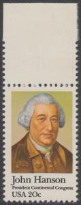 USA Michel 1515 / Scott 1941 postfrisch EINZELMARKE RAND oben - John Hanson (1721-1783), erster Präsident des Kontinentalkongresses