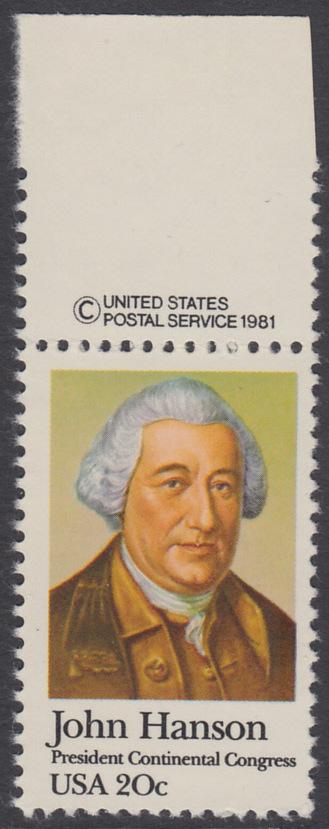 USA Michel 1515 / Scott 1941 postfrisch EINZELMARKE RAND oben m/ copyright symbol - John Hanson (1721-1783), erster Präsident des Kontinentalkongresses 0