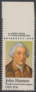 USA Michel 1515 / Scott 1941 postfrisch EINZELMARKE RAND oben m/ copyright symbol - John Hanson (1721-1783), erster Präsident des Kontinentalkongresses