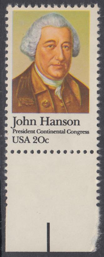 USA Michel 1515 / Scott 1941 postfrisch EINZELMARKE RAND unten - John Hanson (1721-1783), erster Präsident des Kontinentalkongresses 0