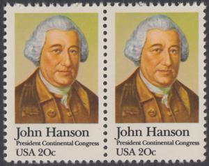 USA Michel 1515 / Scott 1941 postfrisch horiz.PAAR - John Hanson (1721-1783), erster Präsident des Kontinentalkongresses