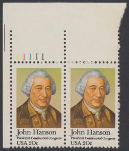 USA Michel 1515 / Scott 1941 postfrisch horiz.PAAR ECKRAND oben links m/ Platten-# 11111 - John Hanson (1721-1783), erster Präsident des Kontinentalkongresses