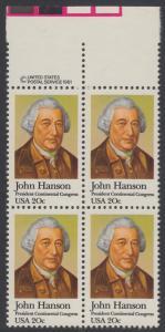 USA Michel 1515 / Scott 1941 postfrisch BLOCK RÄNDER oben m/ copyright symbol - John Hanson (1721-1783), erster Präsident des Kontinentalkongresses