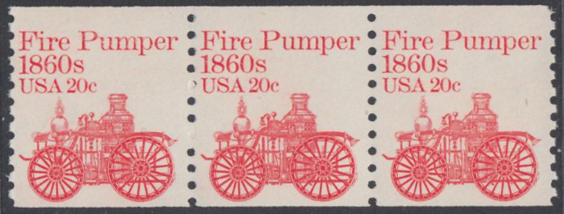 USA Michel 1516 / Scott 1908 postfrisch horiz.STRIP(3) - Fahrzeuge: Feuerlöschpumpe 0