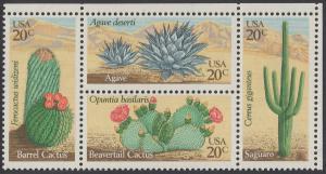 USA Michel 1517-1520 / Scott 1942-1945 postfrisch BLOCK ECKRAND oben rechts - Wüstenpflanzen