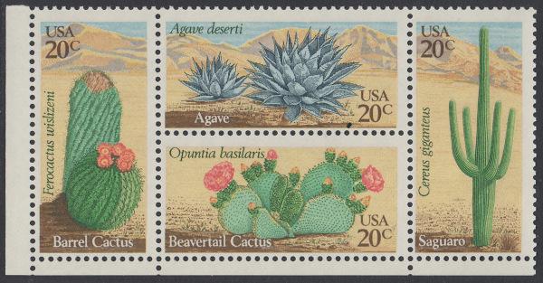 USA Michel 1517-1520 / Scott 1942-1945 postfrisch BLOCK ECKRAND unten links - Wüstenpflanzen 0