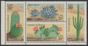 USA Michel 1517-1520 / Scott 1942-1945 postfrisch BLOCK ECKRAND unten links - Wüstenpflanzen