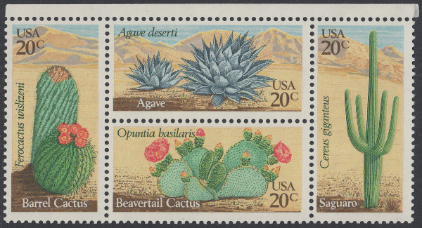 USA Michel 1517-1520 / Scott 1942-1945 postfrisch BLOCK RÄNDER oben - Wüstenpflanzen 0