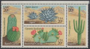 USA Michel 1517-1520 / Scott 1942-1945 postfrisch BLOCK RÄNDER oben - Wüstenpflanzen