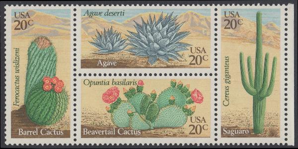 USA Michel 1517-1520 / Scott 1942-1945 postfrisch BLOCK RÄNDER rechts - Wüstenpflanzen 0