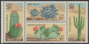 USA Michel 1517-1520 / Scott 1942-1945 postfrisch BLOCK RÄNDER links (a2) - Wüstenpflanzen