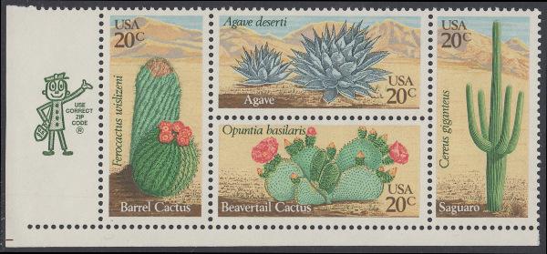 USA Michel 1517-1520 / Scott 1942-1945 postfrisch ZIP-BLOCK (ll) - Wüstenpflanzen 0