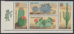 USA Michel 1517-1520 / Scott 1942-1945 postfrisch ZIP-BLOCK (ll) - Wüstenpflanzen