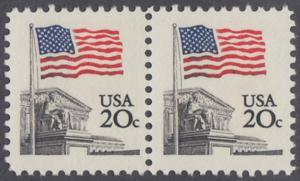 USA Michel 1522 / Scott 1894 postfrisch horiz.PAAR - Flagge, Gebäude des obersten Bundesgerichts