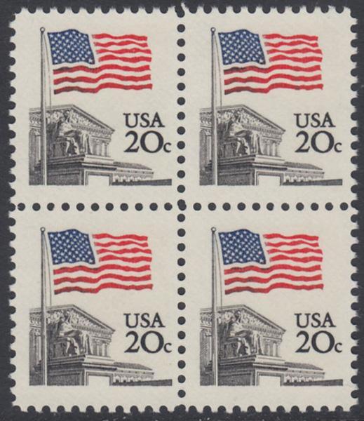 USA Michel 1522 / Scott 1894 postfrisch BLOCK - Flagge, Gebäude des obersten Bundesgerichts 0