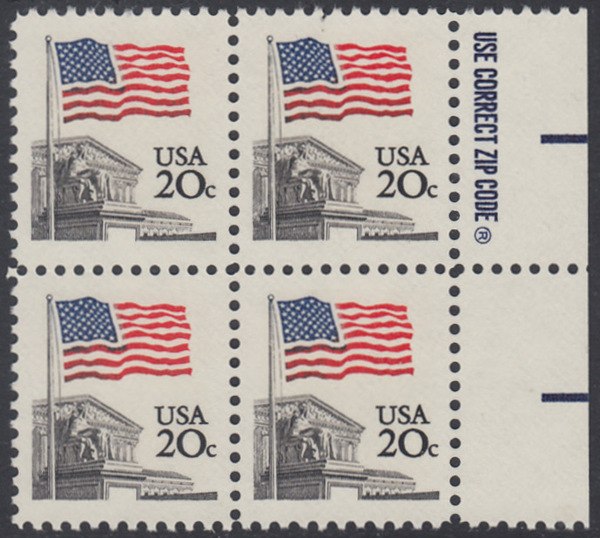USA Michel 1522 / Scott 1894 postfrisch BLOCK RÄNDER rechts m/ ZIP-Emblem - Flagge, Gebäude des obersten Bundesgerichts 0