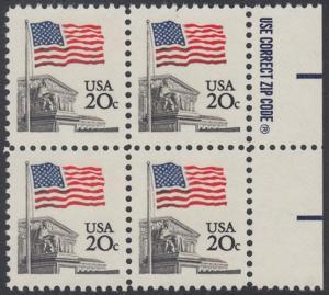 USA Michel 1522 / Scott 1894 postfrisch BLOCK RÄNDER rechts m/ ZIP-Emblem - Flagge, Gebäude des obersten Bundesgerichts