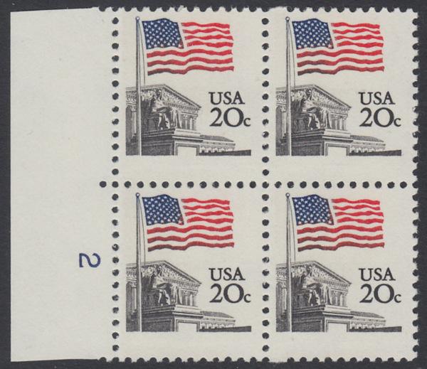 USA Michel 1522 / Scott 1894 postfrisch BLOCK RÄNDER links m/ Platten-# 2 - Flagge, Gebäude des obersten Bundesgerichts 0