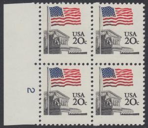 USA Michel 1522 / Scott 1894 postfrisch BLOCK RÄNDER links m/ Platten-# 2 - Flagge, Gebäude des obersten Bundesgerichts