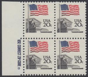 USA Michel 1522 / Scott 1894 postfrisch BLOCK RÄNDER links m/ ZIP-Emblem - Flagge, Gebäude des obersten Bundesgerichts