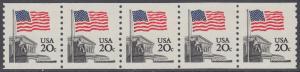 USA Michel 1522C / Scott 1895 postfrisch horiz.STRIP(5 / coils) - Flagge, Gebäude des obersten Bundesgerichts