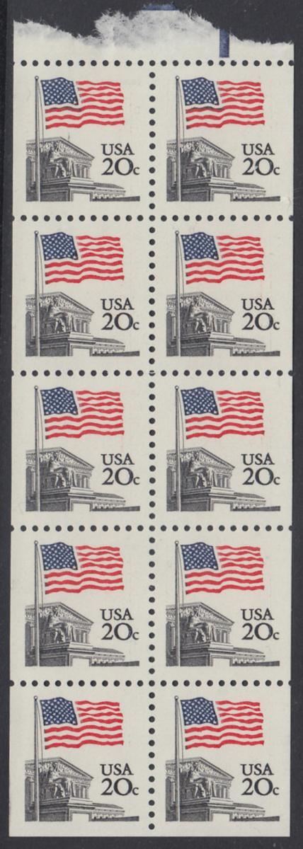 USA Michel 1522D / Scott 1896b postfrisch Markenheftchenblatt(10) - Flagge, Gebäude des obersten Bundesgerichts 0