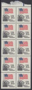 USA Michel 1522D / Scott 1896b postfrisch Markenheftchenblatt(10) - Flagge, Gebäude des obersten Bundesgerichts