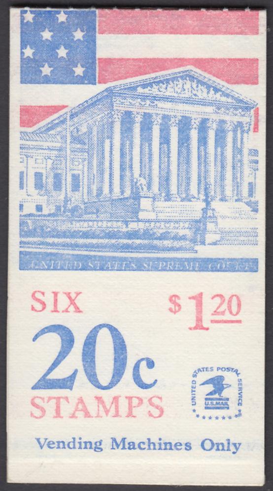 USA Michel 1522D / Scott 1896a postfrisch Markenheftchen(6) - Flagge, Gebäude des obersten Bundesgerichts 0