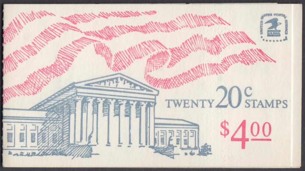 USA Michel 1522D / Scott 1896b postfrisch Markenheftchen(20) - Flagge, Gebäude des obersten Bundesgerichts 0