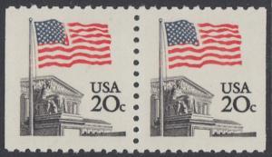 USA Michel 1522D / Scott 1896 postfrisch horiz.PAAR RAND (rechts & links ungezähnt) - Flagge, Gebäude des obersten Bundesgerichts