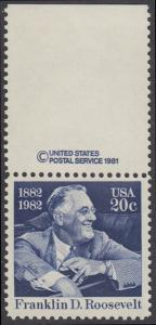 USA Michel 1527 / Scott 1950 postfrisch EINZELMARKE RAND oben m/ copyright symbol - Franklin D. Roosevelt (1882-1945), 32. Präsident der Vereinigten Staaten