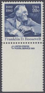 USA Michel 1527 / Scott 1950 postfrisch EINZELMARKE RAND unten m/ copyright symbol - Franklin D. Roosevelt (1882-1945), 32. Präsident der Vereinigten Staaten