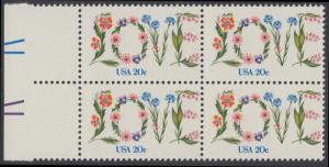 USA Michel 1528 / Scott 1951 postfrisch BLOCK RÄNDER links (a1) - Valentinstag: Blumen bilden das Wort LOVE