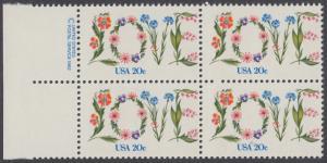 USA Michel 1528 / Scott 1951 postfrisch BLOCK RÄNDER links m/ copyright symbol (a1) - Valentinstag: Blumen bilden das Wort LOVE