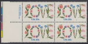 USA Michel 1528 / Scott 1951 postfrisch BLOCK RÄNDER links m/ copyright symbol (a2) - Valentinstag: Blumen bilden das Wort LOVE
