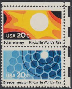 USA Michel 1585+1587 / Scott 2006+2008 postfrisch vert.PAAR ECKRAND oben rechts - Weltausstellung in Knoxville: Sonnenenergie / Brutreaktor