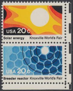 USA Michel 1585+1587 / Scott 2006+2008 postfrisch vert.PAAR ECKRAND unten rechts - Weltausstellung in Knoxville: Sonnenenergie / Brutreaktor