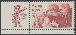 USA Michel 1591 / Scott 2011 postfrisch EINZELMARKE ECKRAND unten links m/ ZIP-Emblem - Gemeinsames Altern: Großeltern und Enkel