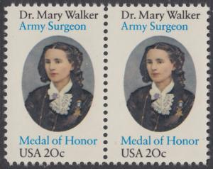 USA Michel 1593 / Scott 2013 postfrisch horiz.PAAR - 150. Geburtstag von Mary Walker, Ärztin