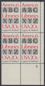 USA Michel 1595 / Scott 2015 postfrisch PLATEBLOCK ECKRAND unten rechts m/ Platten-# 5 - Büchereien