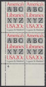 USA Michel 1595 / Scott 2015 postfrisch PLATEBLOCK ECKRAND unten links m/ Platten-# 4 - Büchereien