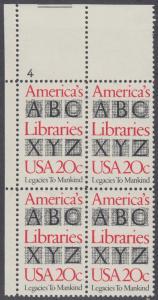 USA Michel 1595 / Scott 2015 postfrisch PLATEBLOCK ECKRAND oben links m/ Platten-# 4 - Büchereien