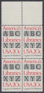 USA Michel 1595 / Scott 2015 postfrisch BLOCK RÄNDER oben - Büchereien