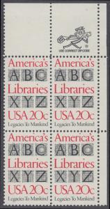USA Michel 1595 / Scott 2015 postfrisch ZIP-BLOCK (ur) - Büchereien