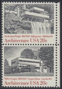 USA Michel 1600+1602 / Scott 2019+2021 postfrisch vert.PAAR RÄNDER rechts - Amerikanische Architektur